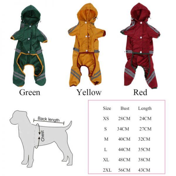 מעיל גשם לכלבים קטנים ובינוניים