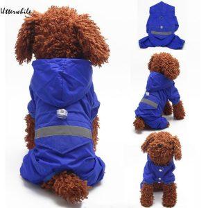 מעיל גשם בצבע כחול לכלב קטן